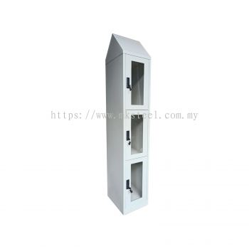 3 COMPARTMENT LOCKER WITH ACRYLIC DOOR