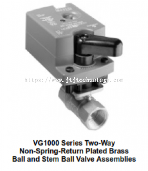 VG1000 Series Two-Way, Plated Brass Trim, NPT End Connections Ball Valves with Non-Spring-Return Ele