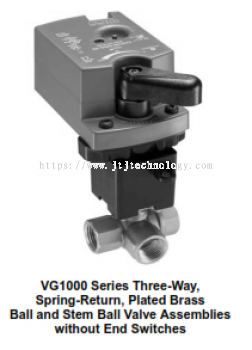 VG1000 Series Three-Way, Plated Brass Trim, NPT End Connections Ball Valves with Non-Spring-Return E