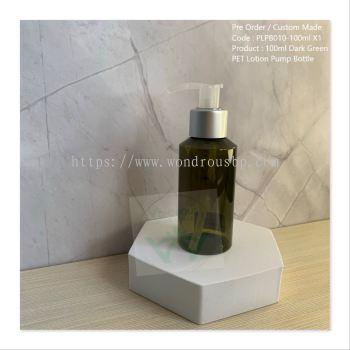 100ml Dark Green PET Lotion Pump Bottle (Matte Silver Ring)- PLPB010