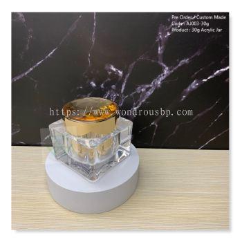 30g Squre Acrylic Jar (Gold) - AJ003