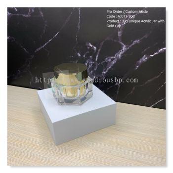 30g Unique Acrylic Jar with Gold Cap - AJ011