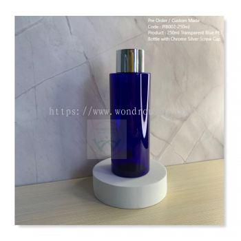 250ml Transparent Blue PET Bottle with Chrome Silver Screw Cap - PIB002