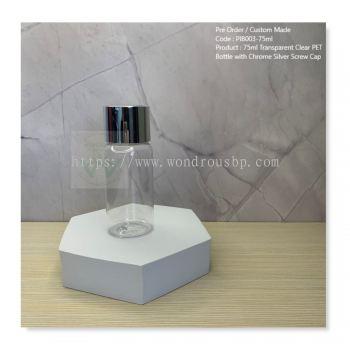 75ml Transparent Clear PET Bottle with Chrome Silver Screw Cap - PIB003
