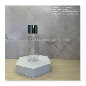 100ml Transparent Clear PET Bottle with Chrome Silver Screw Cap - PIB003