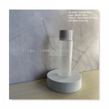 100ml Frosted PET Bottle with White Screw Cap - PIB006