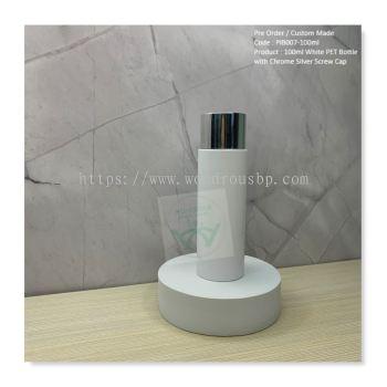 100ml White PET Bottle with Chrome Silver Screw Cap - PIB007