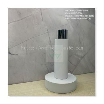 150ml White PET Bottle with Chrome Silver Screw Cap - PIB007