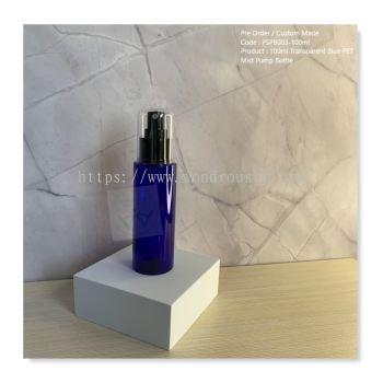100ml Transparent Blue PET Mist Pump Bottle - PSPB003
