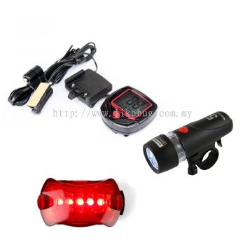 Cycling Maniac Bicycle Accessories Set (Front & Tail Light + Pedometer)