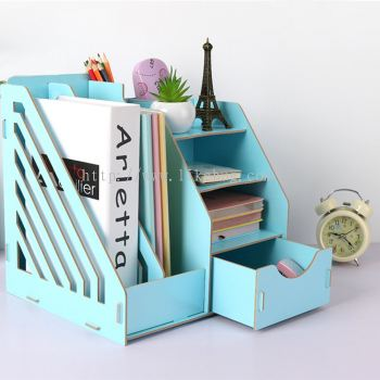 Double Grid Wooden Office Table Organizer Document Rack with Drawer (BLUE)