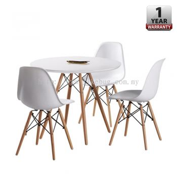 Eames Design Set of Simple Round Dining Table with 3 Curvy Designer Chairs
