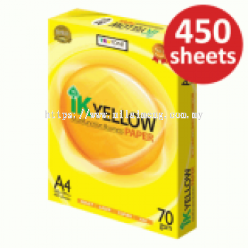 IK YELLOW A4 size, 70gm ,450 shts Paper