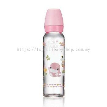 KUKU DUCKBILL Borosilicate Glass Standard Feeding Bottle PINK 240ml (KU5863)