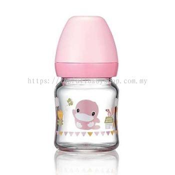 KUKU DUCKBILL Borosilicate Glass Wide-Neck Feeding Bottle PINK 120ml (KU5864)