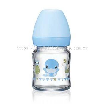 KUKU DUCKBILL Borosilicate Glass Wide-Neck Feeding Bottle BLUE 120ml (KU5864)