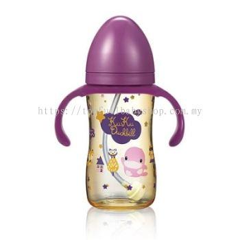 KUKU DUCKBILL PPSU Wide-Neck Feeding Bottle with Handle PINK 330ml (KU5867)