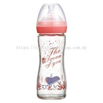 KUKU DUCKBILL The Dream of You Glass Wide-Neck Feeding Bottle PINK 240ml (KU5872)