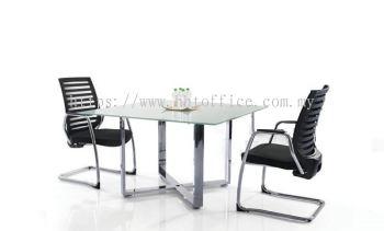 Cassia Cross - Square Glass Discussion Table