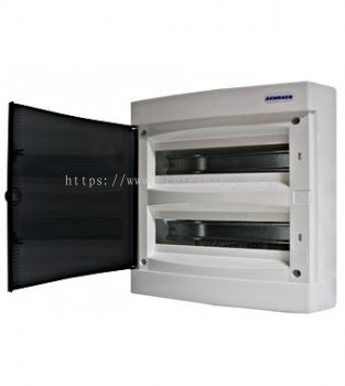 Wall-mounting PVC 2-row Enclosure, 36MW, transparent door