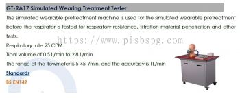 Masks , PPE  Testing Equipments  - Simulated Wearing Treatment