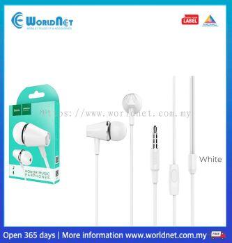HOCO M34 HONOR MUSIC UNIVERSAL EARPHONES WITH MICROPHONE (WHITE)