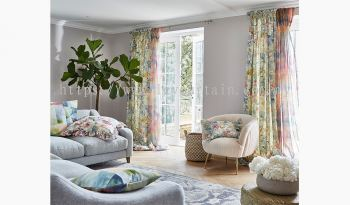 Colourful curtain brightens up the room
