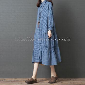 Korean Oversize Linen Dress 880132