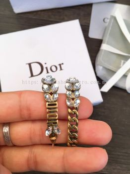 DIOR EARRINGS ANTIQUE GOLD FINISH Diamond Leaf 880717
