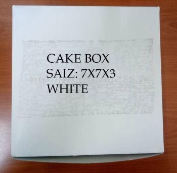 PAPER CAKE BOX - WHITE (7X7X3)