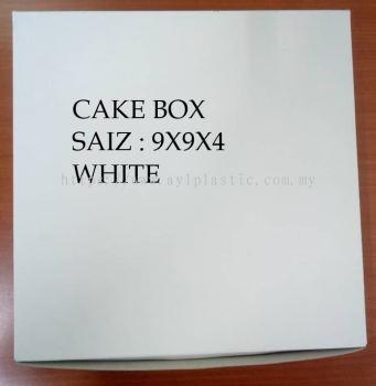 PAPER CAKE BOX - WHITE (9X9X4)