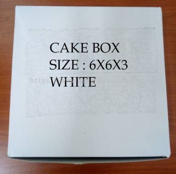 PAPER CAKE BOX- WHITE (6X6X3)