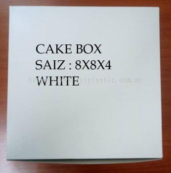 PAPER CAKE BOX- WHITE (8X8X4)