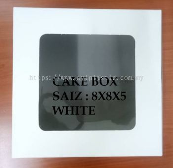 PAPER CAKE BOX WITH WINDOW - WHITE (8X8X5)