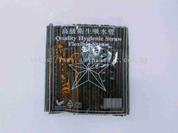 FLEXIBLE BLACK STRAW (8'OZ)(50PKTX200PCS)