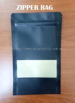 KRAFT ZIPPER BAG (BLACK) (4.8X7.6)