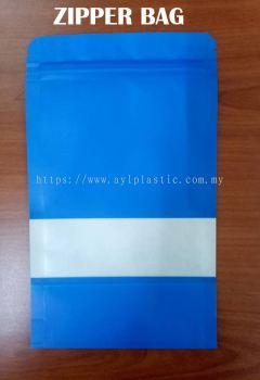 KRAFT ZIPPER BAG (BLUE) (4.8X7.6)