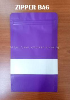 KRAFT ZIPPER BAG (PURPLE) (4.8X7.6)