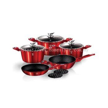 Hafele 10-pc Cookware Set In Burgundy Metallic CW-1222
