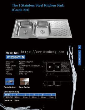 THE 1 S/STEEL KITCHEN SINK (V1206P/TM)