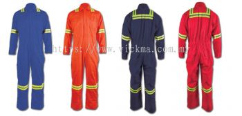 100% COTTON COVERALL C/W REFLETOR