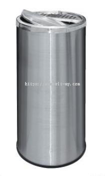 Stainless Steel Round Waste Bin c/w Half Ashtray & Half Swing Top RAB-118/H