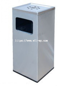Stainless Steel Square Waste Bin c/w Ashtray Top SQB-125/A