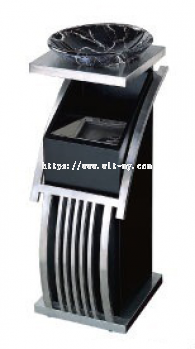 Stainless Steel + Powder Coating Design Bin c/w Artificial Designed Glass Bowl on Top & Inner Liner