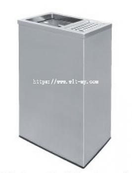 Stainless Steel Rectangular Waste Bin c/w 1/3 Ashtray and 2/3 Open Top RAS-120/H