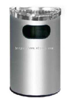 Stainless Steel Semi Round Bin c/w Ashtray Top SRB-058/A