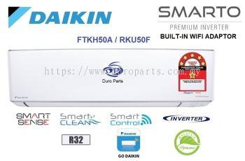 Daikin 2.0HP SMARTO Premium Inverter Air Conditioner R32 C/W Network Adapter FTKH50A & RKU50F