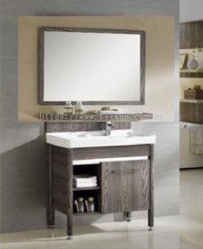 Corona Bathroom Vanity Set with Bathroom Mirror , Glass Shelf and Basin Cabinet - Wood