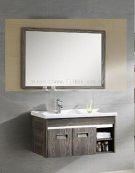 Corona Bathroom Vanity Set with Bathroom Mirror and Basin Cabinet - Wood