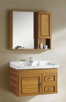 Corona Bathroom Vanity Set with Mirror Box and Basin Cabinet - Wood